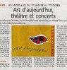 Art d'aujourd'hui, théâtre  et concerts Le Bulletin Le 20 janvier 2015